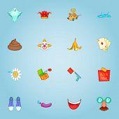 April Fool Day Icons Set. Cartoon Illustration Of 16 April Fool Day Icons For Web poster