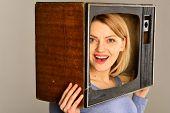 Retro Tv. Retro Tv With Happy Woman. Smiling Woman With Retro Tv On Head. Retro Tv Set. Movie poster