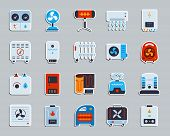 Hvac Sticker Icons Set. Flat Sign Kit Of Climatic Equipment. Fan Pictogram Collection Includes Blowe poster