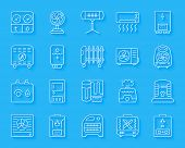 Hvac Paper Cut Art Line Icons Set. Sign Kit Of Climatic Equipment. Fan Linear Pictogram Collection I poster