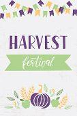 Harvest Festival - Hand Drawn Lettering Phrase And Autumn Harvest Symbols. Harvest Fest Poster Desig poster