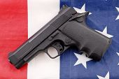 picture of bill-of-rights  - United States Military Concept portrayed by a hand gun with safety off on the american flag - JPG