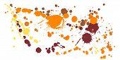 Ink Stains Grunge Background Vector. Mottled Ink Splatter, Spray Blots, Dirt Spot Elements, Wall Gra poster