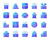 Gift Boxes Silhouette Icons Set. Isolated On White Web Sign Kit Of Bounty Box. Present Pictogram Col poster
