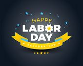 Happy Labor Day Celebration Banner Background Sale - Happy Labor Day Lettering Vector Illustration - poster