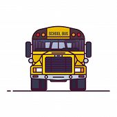 Front View Of Yellow School Bus. Retro Transport Old Style Vehicle. Line Style Vector Illustration.  poster