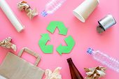 Recycling. Green Recycle Eco Symbol. Recycled Arrows Sign Near Matherials For Recycle And Reuse On P poster