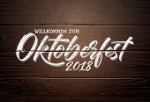 Oktoberfest Illustration With Handwritten Lettering On Vintage Wood Background. Oktoberfest Typograp poster