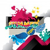 image of summer fun  - Designed abstract summer fun banner - JPG