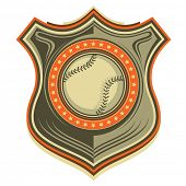 Illustrated retro baseball crest. Vector illustration.
