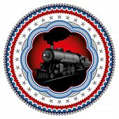 Stylish vintage label with old locomotive. Vector illustration.