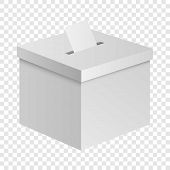 Election Box Mockup. Realistic Illustration Of Election Box Mockup For On Transparent Background poster