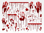 Blood Drip. Red Paint Splash, Halloween Bloody Splatter Spots And Bleeding Hand Traces. Dripping Blo poster