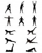 Постер, плакат: Женщина siluettes Упражнения тренажерный зал