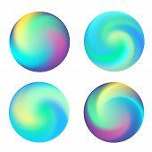 Rounded Holographic Neon Vibrant Gradient Button. Multicolor Blurs Gradient, Colorful Buttons, Vivid poster