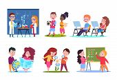 Kids In Lessons. School Children Learning Geography And Chemistry, Biology And Math. Cartoon Vector  poster