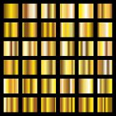 Gold Gradient. Golden Metal Squares Vector Collection. Metal Shiny Golden, Gold Square Smooth Illust poster