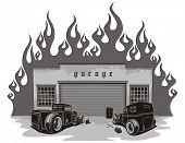 stock photo of street-rod  - Rat rods garage - JPG