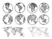 Globe Sketch. Hand Drawn Earth Planet With Continents And Oceans. Doodle World Map Vector Illustrati poster