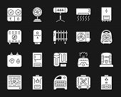 Hvac Silhouette Icons Set. Isolated Sign Kit Of Climatic Equipment. Fan Monochrome Pictogram Collect poster
