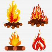 Bonfire Set - Camping, Fire Collection. Burning Woodpile. Vector poster