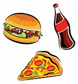 stock photo of junk food  - Vector illustration of various fast food  - JPG
