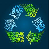 picture of save water  - Big eco recycle icon made out of icons - JPG