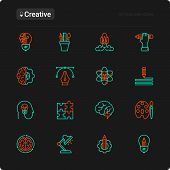 Creative Thin Line Icons Set: Generation Of Idea, Start Up, Brief, Brainstorming, Puzzle, Color Pale poster