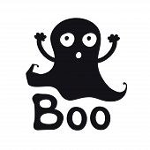 Boo. Ghost Time. Halloween Theme. Handdrawn Lettering Phrase. Design Element For Halloween. Vector H poster