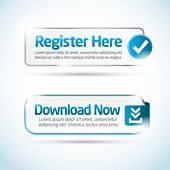 Shiny minimal aqua blue register and download button collection