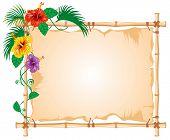 Постер, плакат: Бамбук кадр с изношенные ткани знак и тропические цветы