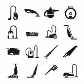 Vacuum Cleaner Washing Appliance Icons Set. Simple Illustration Of 16 Vacuum Cleaner Washing Applian poster
