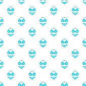Blue Swimsuit Pattern. Cartoon Illustration Of Swimsuit Pattern For Web poster