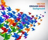 Постер, плакат: оригами птиц абстрактный фон
