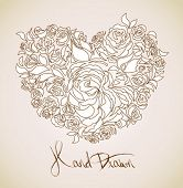 picture of heart shape  - vintage floral background  - JPG