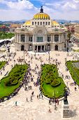 The Palace of Fine Arts in Mexico City - Aerial view with unrecognizable people poster