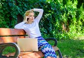 Technologies Making Life Easier. Woman Laptop Park Ordering Items Virtual Shop. Girl Take Advantage  poster