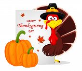 Happy Thanksgiving, Greeting Card, Poster Or Flyer For Holiday. Thanksgiving Turkey. Vector Illustra poster