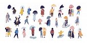 Collection Of People Walking Under Umbrella On Autumn Rainy Day Isolated On Blue Background. Crowd O poster