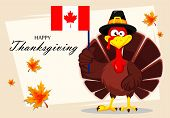 Happy Thanksgiving, Greeting Card, Poster Or Flyer For Holiday. Thanksgiving Turkey Holding Canadian poster