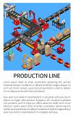 Production Line Conveyor For Smartphones Creation Vector Illustration With Text Sample, Robots Doing poster