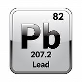 Lead Symbol.chemical Element Of The Periodic Table On A Glossy White Background In A Silver Frame.ve poster