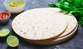 Plain Tortillas With Tomato Salsa, Guacamole And Fresh Parsley On Dark Background, Wheat Tortillas, poster