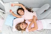 Comfort. Home Comfort For Small Girls. Small Girls Are Happy Together. Enjoying Time At Home poster