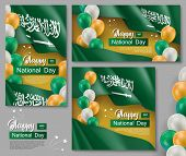 Happy Saudi Arabia National Day Posters. Patriotic Collection With Realistic Arabian Fabric Flag And poster