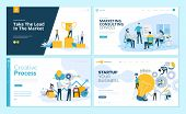Set Of Web Page Design Templates For Creative Process, Business Success And Teamwork, Marketing Cons poster