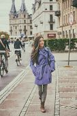 Autumn city lifestyle young woman walking relaxing outdoor in european street, urban living, Copenha poster