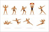 Freestyle Wrestling Fighter In Black Underwear Fighting Set Of Illustrations With Wrestler Sportsman poster