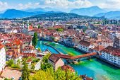 Scenic Summer Aerial Panorama Of The Old Town Medieval Architecture In Lucerne, Switzerland poster