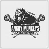 Lacrosse Club Emblem With Gorilla Head. Vector Illustration. poster